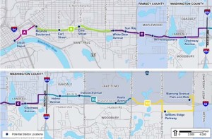 The proposed Gateway Corridor Gold Line bus rapid transit service received a boost with a federal grant for transit-oriented planning around its 13 station sites. (Courtesy Gateway Corridor Commission)